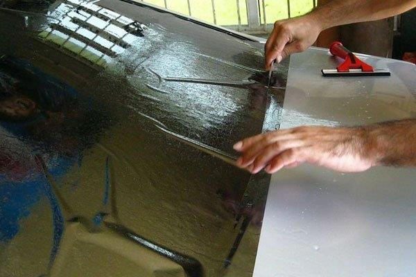 Отрезание тонировки по размеру заднего стекла