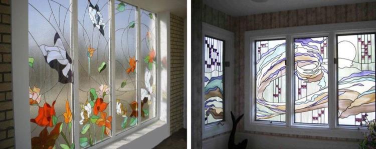 Декоративную пленку, имитирующую витражные композиции, можно использовать разными способами и на различных локациях