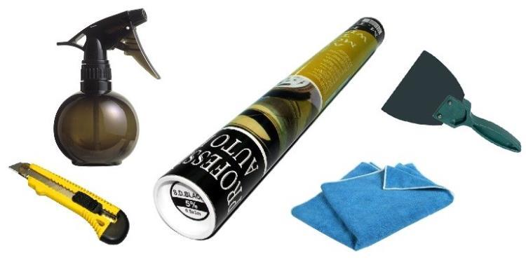 Мыльный раствор, канцелярский нож, резиновый шпатель, тряпка и пленка