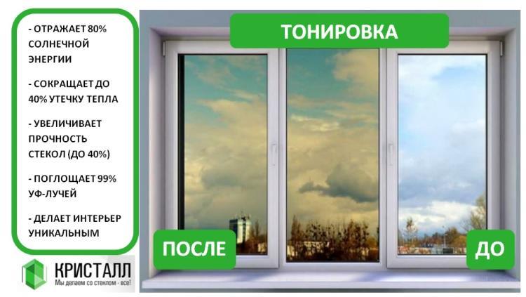 Преимущества тонировки и вид окна до и после поклейки